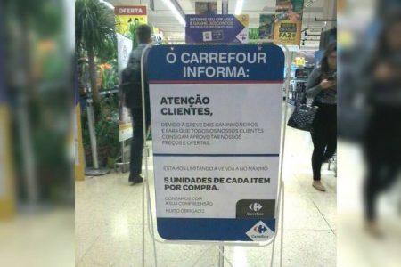 Carrefour limita compra por clientes devido à greve de caminhoneiros