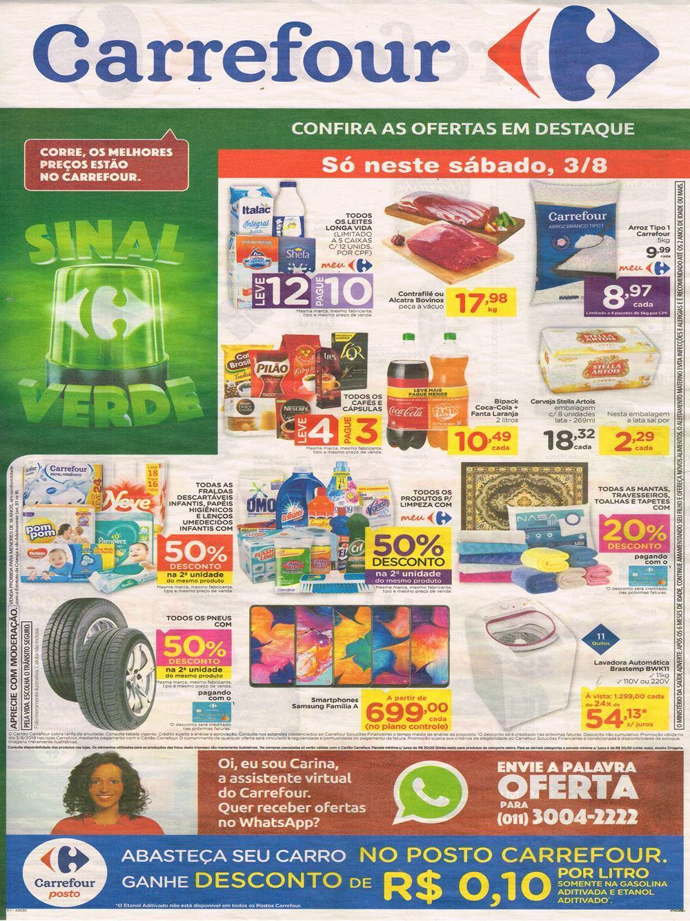 CARREFOUR-SINAL-VERDE Sinal Verde Carrefour ofertas especiais para sábado e domingo 03 e 04/08