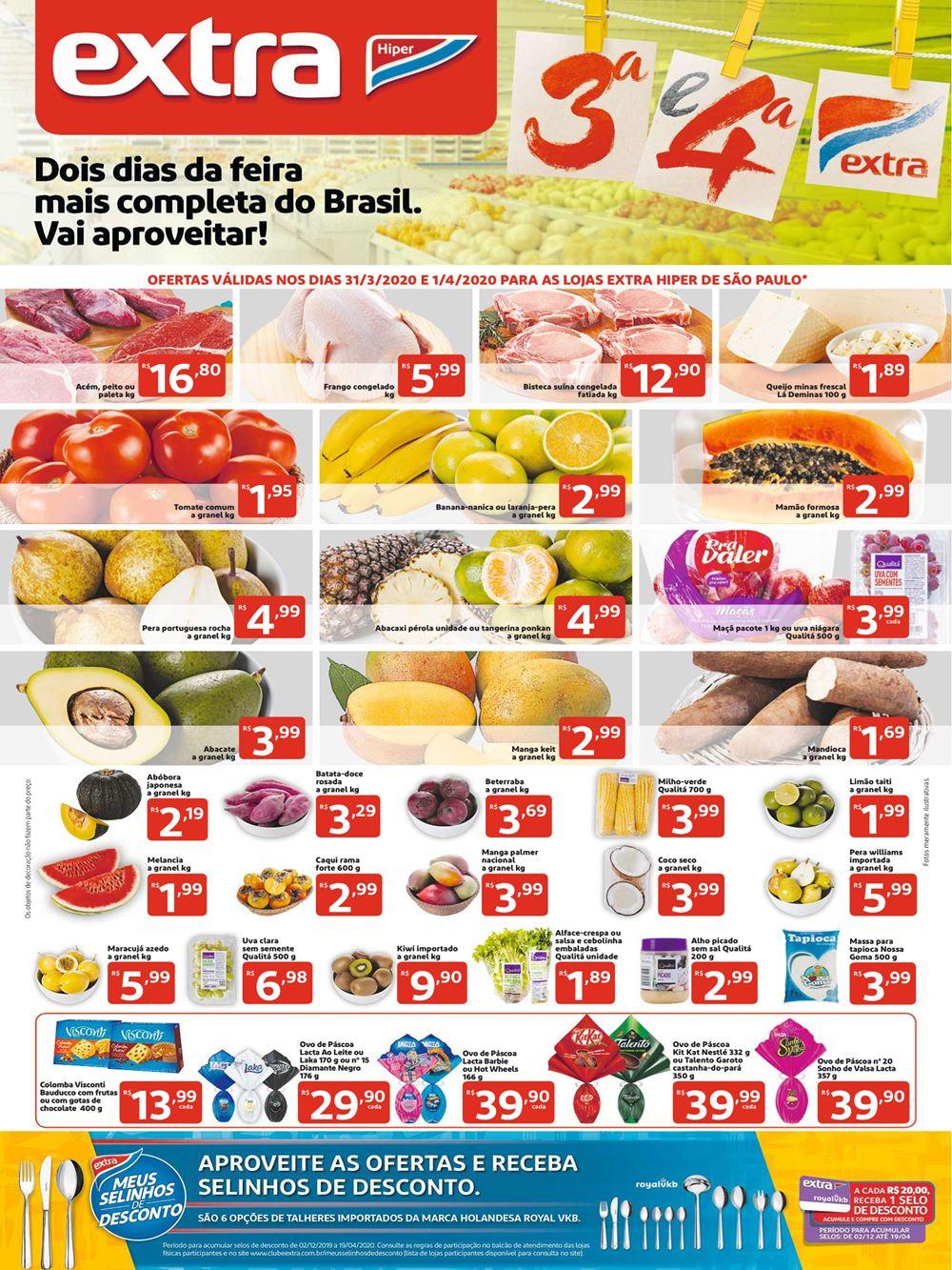Folheto Terça e Quarta Extra Hiper até 01/04 confira as ofertas